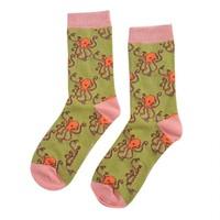 Miss Sparrow Socks Bamboo Octopus moss