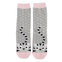 Miss Sparrow Socken Bamboo Kitty & Spots grey