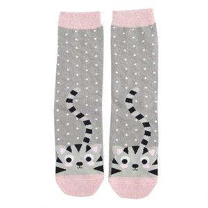 Miss Sparrow Socks Bamboo Kitty & Spots grey