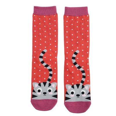Miss Sparrow Socks Bamboo Kitty & Spots burnt orange