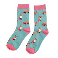 Miss Sparrow Socks Bamboo Foxes green