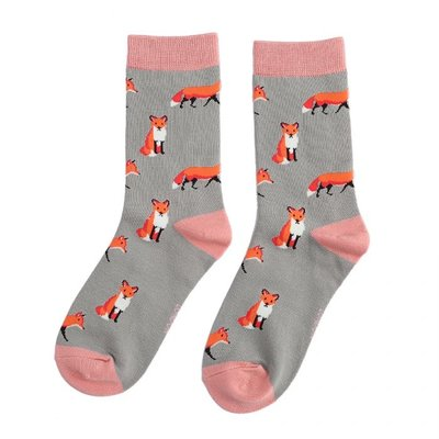 Miss Sparrow Socks Bamboo Foxes grey