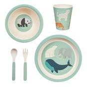 Sass & Belle Tableware set Bamboo Endangered Animals