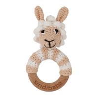 Sindibaba Rattle wooden ring Lama (organic cotton)
