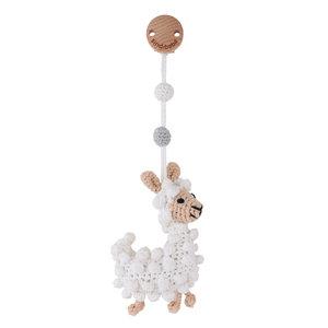 Sindibaba Kinderwagenclip / Rassel mit Lama (Bio-Baumwolle)