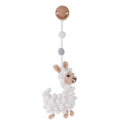 Sindibaba Pram clip / rattle with Lama (organic cotton)