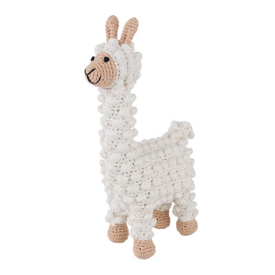 Sindibaba Cuddly toy with rattle Lama (organic cotton)