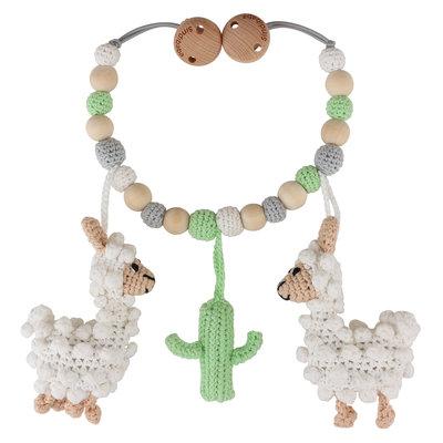 Sindibaba Stroller chain with rattle Lama (organic cotton)