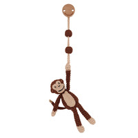 Sindibaba Pram clip with rattle monkey brown