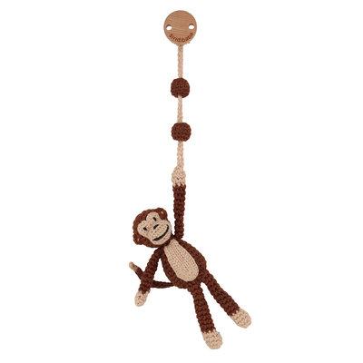 Sindibaba Pram clip with rattle monkey brown