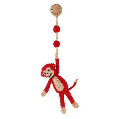 Sindibaba Kinderwagen-Clip mit Rassel Äffchen rot