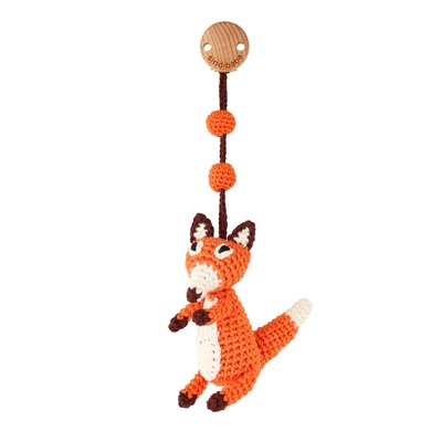 Sindibaba Baby carriage clip with rattle orange