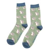 Miss Sparrow Männer-Socken Bamboo Cute Hedgehogs green