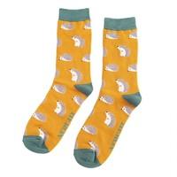 Miss Sparrow Männer-Socken Bamboo Cute Hedgehogs mustard