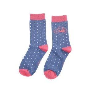 Miss Sparrow Socks Bamboo Bike & Spots blue