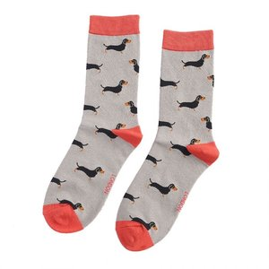 Miss Sparrow Socks Bamboo Little Sausage Dogs grey