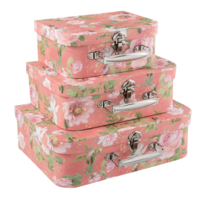 Clayre & Eef Suitcase Flowery salmon Set of 3