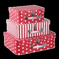 Clayre & Eef Köfferchen Spotty/Stripes red Set of 3