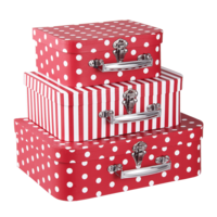 Clayre & Eef Suitcase Spotty/Stripes red Set of 3
