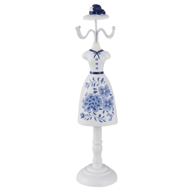 Clayre & Eef Jewelery stand White Dress with Blue Flowers