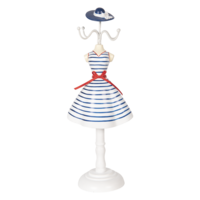 Clayre & Eef Schmuckständer White Dress with Blue Stripes