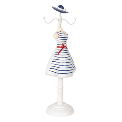 Clayre & Eef Jewelery stand White Dress with Blue Stripes