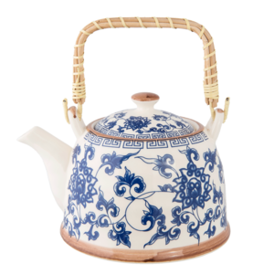 Clayre & Eef Teapot Chinese Flowers blue