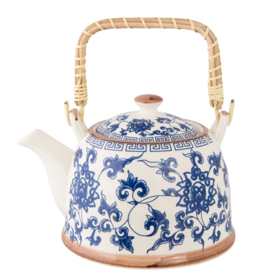 Clayre & Eef Teekanne Chinese Flowers blue