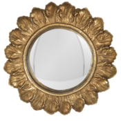 Clayre & Eef Mirror Leaves round gold