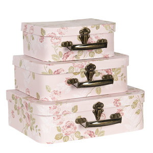 Clayre & Eef Suitcase Flowery light rose Set of 3