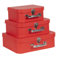 Clayre & Eef Suitcase Uni red Set of 3