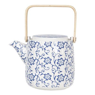 Clayre & Eef Teapot Climbing Flowers blue