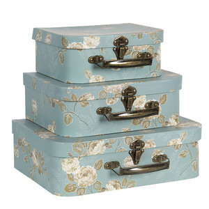 Clayre & Eef Suitcase Flowery light blue/olive Set of 3