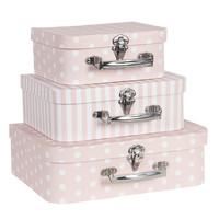 Clayre & Eef Suitcase Spotty/Stripes rose Set of 3