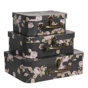 Clayre & Eef Suitcase Flowery black Set of 3