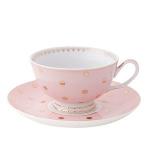 Clayre & Eef Tasse mit Untertasse Dots pink/gold