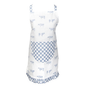 Clayre & Eef Kids apron Cows blue