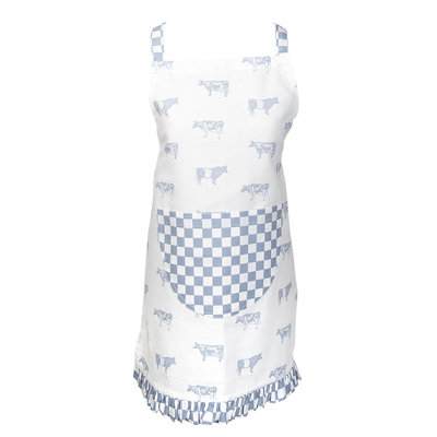 Clayre & Eef Kids apron Cows blue