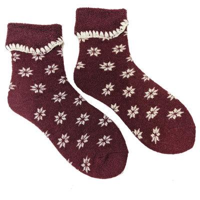 Joya Socks Woolmix extra thick Flowers red/cream