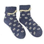 Joya Socken Wollmix extra thick Flowers blue/cream