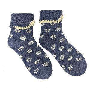 Joya Socken Wollmix extra thick Flowers blue/cream