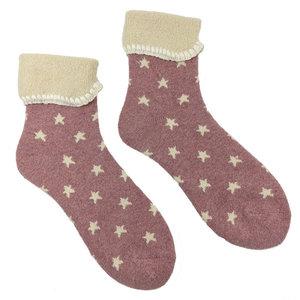 Joya Socken Wollmix extra thick Stars pink/cream