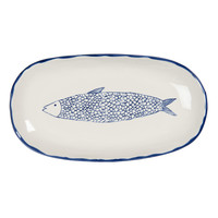 Clayre & Eef Bowl oval Fish blue