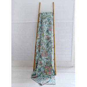 Powell Craft Throw Kantha Exotic Flowers mint