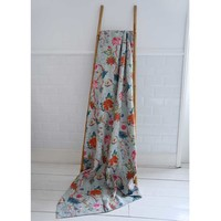 Powell Craft Throw Kantha Exotic Flowers blue