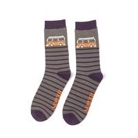 Miss Sparrow Männer-Socken Bamboo Camper Stripes grey