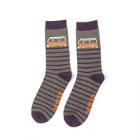 Miss Sparrow Mens Socks Bamboo Camper Stripes grey