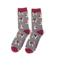 Miss Sparrow Männer-Socken Bamboo Beagle Pups grey