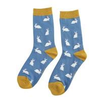 Miss Sparrow Socks Bamboo Rabbits blue
