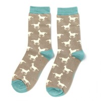 Miss Sparrow Socks Bamboo Horses grey